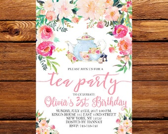 Floral Tea Party Invitation, Tea Party Invite,Tea Party Birthday Invitation,Tea Party Supplies, Tea Party Idea, Birthday Party 175