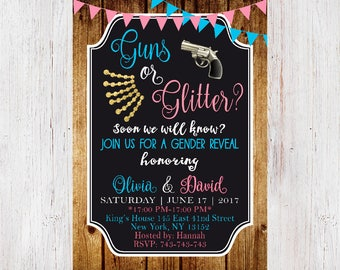 Guns or Glitter Gender Reveal Invitations, Gender Announcement Invitations, Pistols or Glitter invitations 204