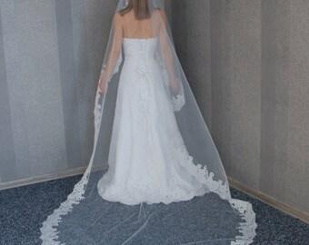 "Cathedral Mantilla veil, Cathedral veil, Veil with Alencon lace, 108"" Cathedral length, Chapel length veil, Church Lace Veil, Bridal Veil"