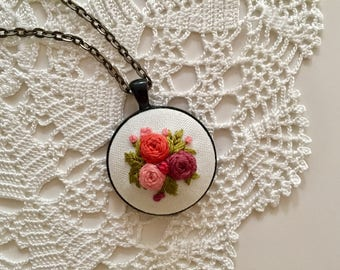 Embroidered Pendant Necklace, Floral Jewelry, Flower Necklace, Embroidered Flower Necklace, Handmade Jewelry, Boho Style Jewelry