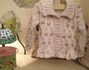 Hand cotton embroidered sweater