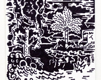 Little Island Sketch Card