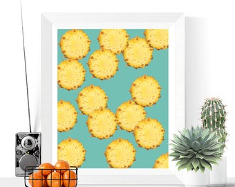 Pineapple Slices Art Printable | Pineapples | Art Printable | Modern Art | Fruit Art | Kitchen Art | Tropical | Food | Summer