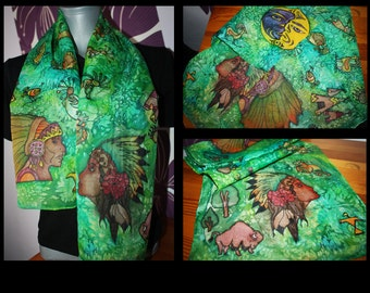 Hand painted silk scarf, one of a kind, high quality paint, native american, buffalo, tent, woman, man, nature