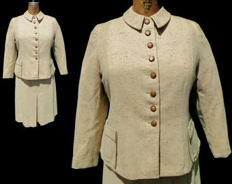 Vintage 1940's Beige Brown Suit With Front Pleat - Larger Size