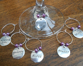 Wine Glass Charms, Hashtag Wine Glass Charms, Wine Charms, Set of Six