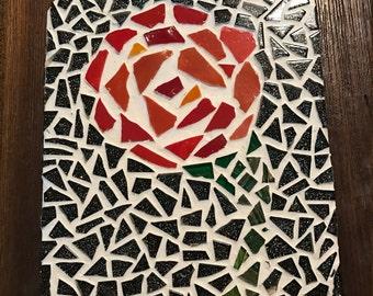 Single Red Rose Mosiac Wall Decor