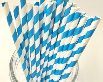 Ocean Blue Paper Straw Pack