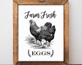 Farm Fresh Eggs, Fresh Eggs, Print, Farmhouse Decor, Kitchen Decor, Printable, Digital Print, Instant Download, Printable Art, Fixer Upper