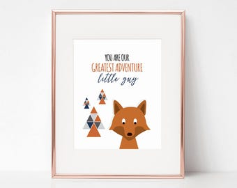 You Are Our Greatest Adventure Print, 11x14 Digital Download Prints, Wall Art, Boy Nursery, Fox Nursery, Playroom, Arbor Grace Collections