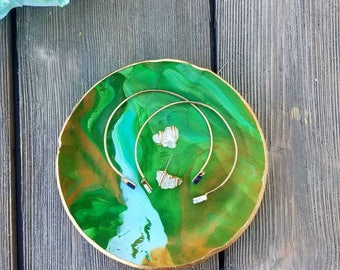 Green Marble Ring Dish, Catchall, Jewelry Holder, Trinket Dish, Ring Dish, Birthday Gift for Her, Marble Jewelry Dish, Vanity Tray