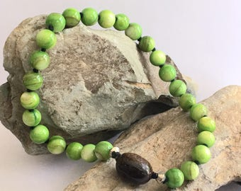 27-Bead Mala, Nenju, Juzu, Prayer Beads, Meditation Beads, Green Mala