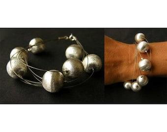 Bracelet, bracelet, matte silver ball, silver clasp, sterling silver 925, handmade, new
