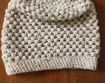 Crocheted adult slouchy hat