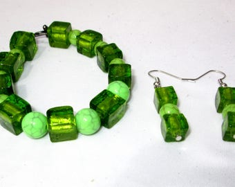 Green Glass and Faux Marble Finish Beaded Bracelet with Earrings- Bead Bracelet Set