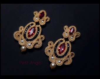 Earrings in gold soutache, red Swarovski crystals, pearls, rhinestones Sapphire
