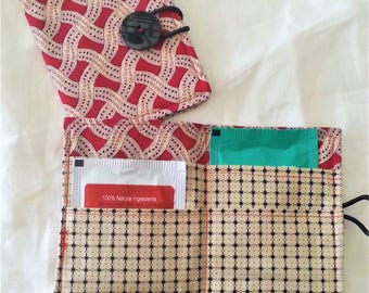 Tea Wallet in red, cream and black print