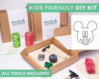 Kids friendly DIY MICKEY MOUSE string art kit, kids craft kit, all tools included, cool gift for kids
