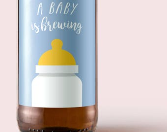 Printable A Baby is Brewing Beer Label for Baby Boy shower and Gender Reveal
