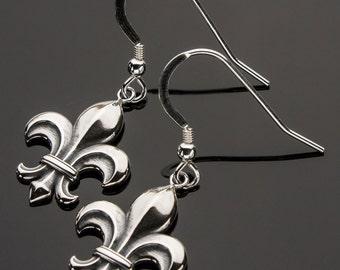 3D Printed Fleur de Lis Earrings, Fleur de Lis Earrings, Fleur de Lis Sterling Silver Earrings, 3D Printed Earrings, Sterling Earrings, iDu
