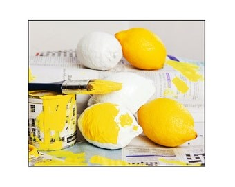 Wall Art, Food landscape Print - Painting Lemons Print Photography - original & humorous fine art by Cath Lowe - Home Decor