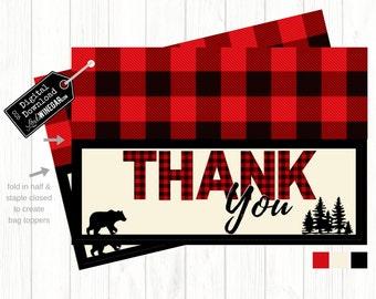 Lumberjack Woodland Baby Shower Thank You Bag Topper, Plaid Bag Topper | INSTANT Download 4x6 JPG