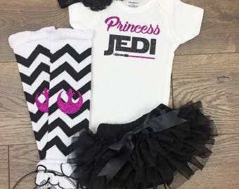 Princess Jedi outfit Star Wars girl Newborn baby set Mom Dad Baby shower gift Rebel leggings Padawan coming home first pictures Father's day