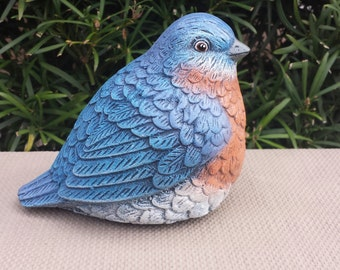 Orange Breasted Blue bird - Handmade and Hand Painted Concrete Garden Statue