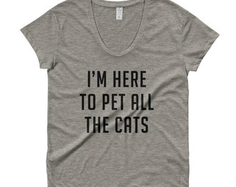 I'm Here to Pet All The Cats Ladies' Roadtrip Tee, Pet all the Cats Loose fit T shirt, Tumblr T shirt, Tumblr shirt, Instagram shirt