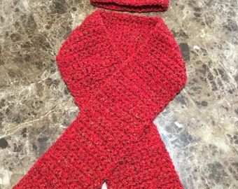 Woman's Variegated Red Crocheted Scarf and Beanie