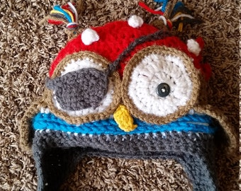 Crochet Pirate Owl Beanie