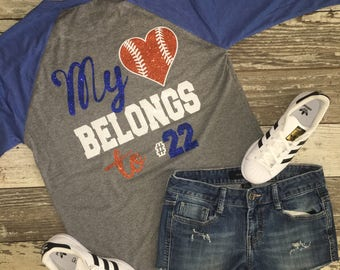"Baseball t shirt top with saying on the back ""My heart belongs to..."" monogram"