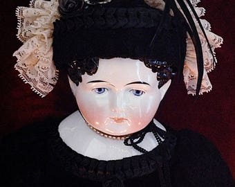 """Lovely & Large Antique German Chinahead Doll ~ 1800s ~ 29"""""""