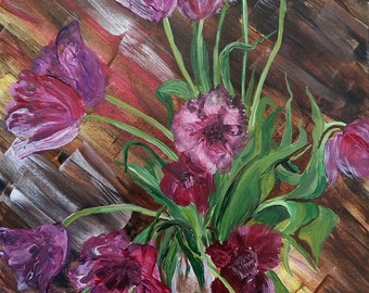 Tulips on wooden floor 30x40 cm Original acrylic painting on cotton canvas. 2016 Flowers painting  in interior Unique gift Living room decor