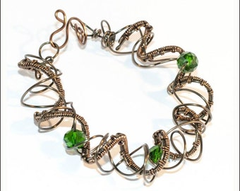 Wire-wrapped bracelet