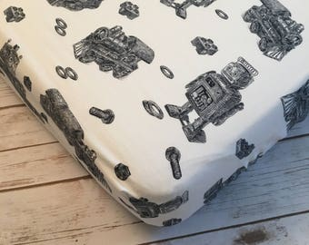 Robot/Lego/Train Black and White Boy's Crib Sheet