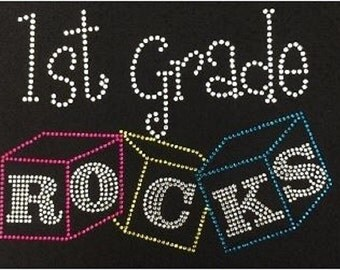 1st Grade Rocks Blocks Rhinestone Iron on T Shirt Transfer      E6RV