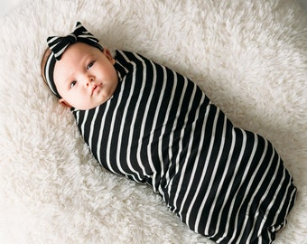Black & White Swaddle Set (headband)