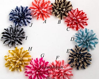 "4.4"" 12colors Chic Striped Chiffon Flower For Baby Girls Hair Accessories Artificial Fabric Flowers For Headbands"