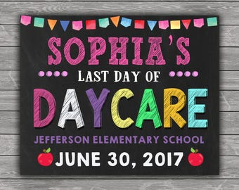 Last Day of School Sign, Last Day of School Chalkboard Sign, Last Day of Daycare Sign, ANY GRADE School Photo, Printable, Personalized Sign