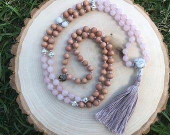 Rosewood, matte rose quartz, and howlite mala beads, Mala necklace, Hand-knotted 108 bead mala