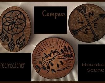 Custom or Personalized Wood Burned Fridge Magnet