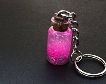 Pink tiny glitter jar keychain