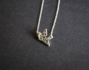 silver tone paper origami crane necklace
