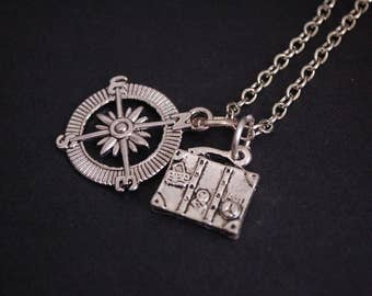Silver tone compass suitcase explorer necklace