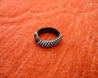vintage black plastic bracelet with rhinestones
