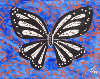 white butterfly,blue and orang trim
