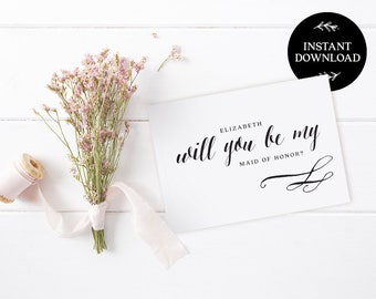 Will You Be My Bridesmaid Printable Card, INSTANT DOWNLOAD DIY Ask to be Bridesmaid, Maid of Honor, Flower Girl, pdf editable Florence