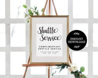 Shuttle Service Sign INSTANT DOWNLOAD Editable PDF, Shuttle Bus Printable, Wedding Reception Sign, Courtesy Bus Sign - Audrey