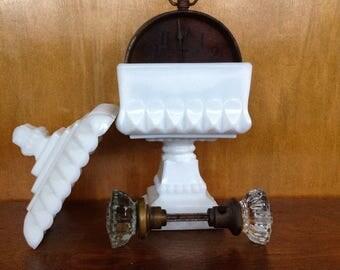 Vintage Milk Glass Square Covered Pedestal Dish